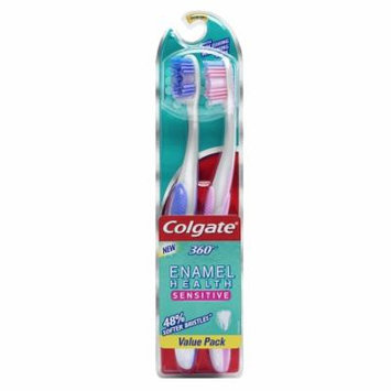 Colgate 360 Enamel Health Sensitive Toothbrush, Extra Soft 2.0 ea(pack of 12)
