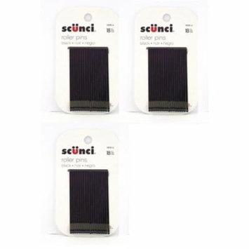 Scunci Black Roller Pins, 18 Pcs (3 Pack) + Schick Slim Twin ST for Sensitive Skin