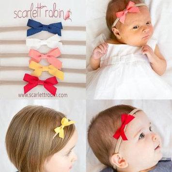 5 Ribbon Bows on Nylon Headbands Multi-packs for Baby and Girls. {Scarlett Robin Brand} (ribbon