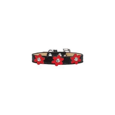 Metallic Flower Ice Cream Collar Black With Metallic Red Flowers Size 12