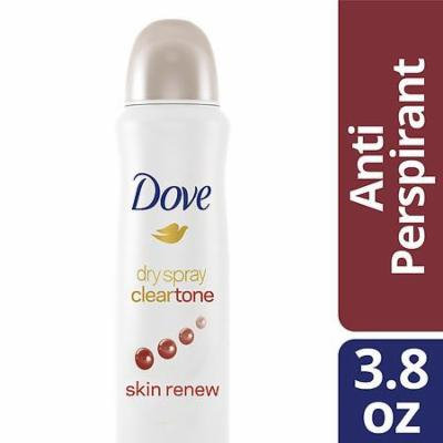 Dove Dry Spray Antiperspirant Deodorant Clear Tone Skin Renew 3.8 oz.(pack of 2)