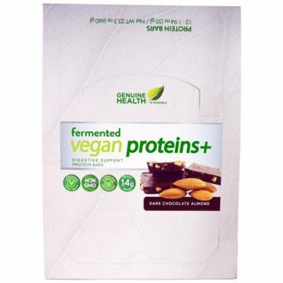 Genuine Health Corporation, Fermented Vegan Proteins +, Dark Chocolate Almond, 12 Protein Bars, 1.94 oz (55 g) Each(pack of 4)
