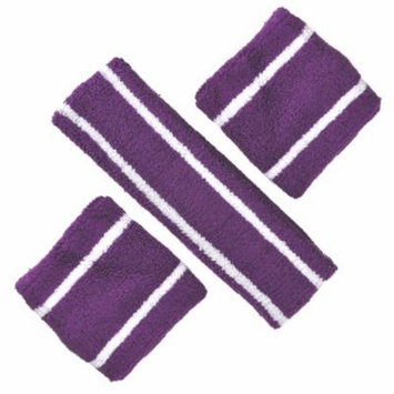 GOGO Thick Solid Color Sweatband Set (1 Headband + 2 Wristbands)-Purple/White