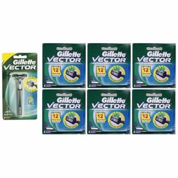 Vector Plus Razor Handle + Vector Plus Refill Razor Blades 4 ct. (Pack of 6) + 3 Count Eyebrow Trimmer