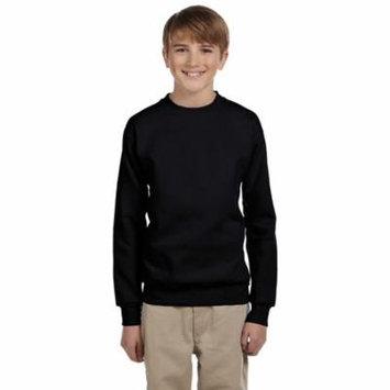Hanes Youth Cotton Crewneck Fleece Closure Sweatshirt, Black, Medium, Style, P360