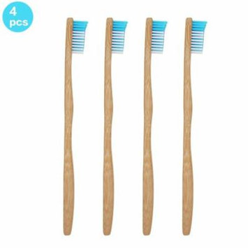 Genkent 4 PCS Bamboo Toothbrush-Natural &Eco Friendly- Dental Care for Adult Blue