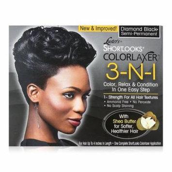 Lusters Shortlooks 3-N-1 Semi Permanent Hair Color Relaxer Kit, Diamond Black, 1 Ea, 3 Pack