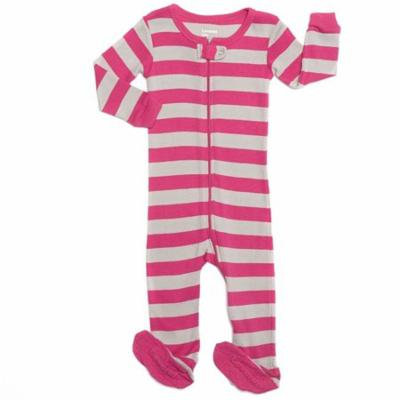 Leveret Striped Footed Pajama Sleeper 100% Cotton (12-18 Months, Berry & Chime)