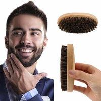 Practical Oval Shape Men Boar Hair Bristle Facial Beard Mustache Brush Hard Round Wood Handle Face Message