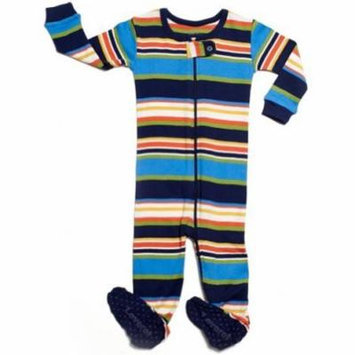 Leveret Striped Footed Pajama Sleeper 100% Cotton (12-18 Months, Colorful)