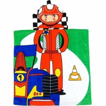 Kreative Kids Boys Multi Color Car Race Soft Hooded Poncho Bath Towel