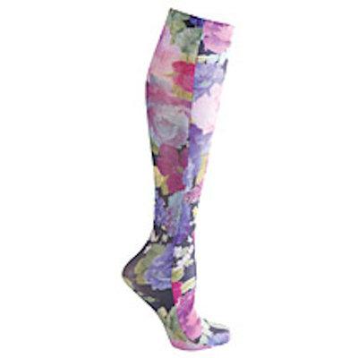 Celeste Stein Women's Mild Compression Knee High Stockings - Purple Floral