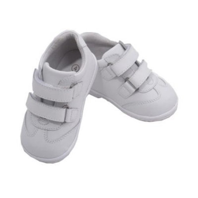 Angel Toddler Boys White Double Velcro Strap Leather Sneakers 4-7 Toddler