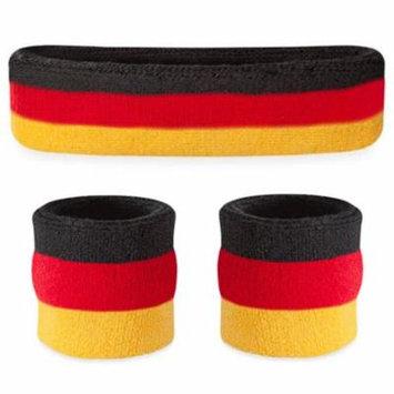 Suddora Striped Headband & Wristbands Set (Includes 1 Head Band and 2 Wrist Sweatbands) (Black Red Yellow)