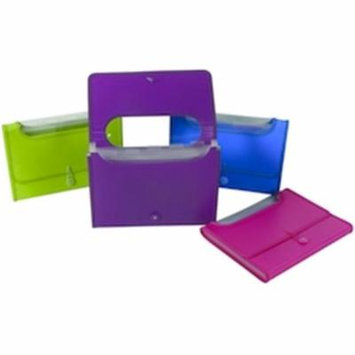 Filexec Products AE43970 Expanding 6 Pocket File with Window 9.5x13 Neon