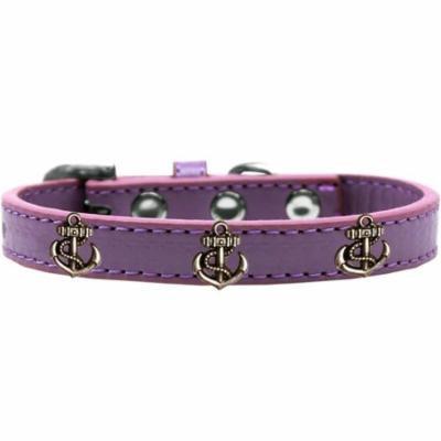 Bronze Anchor Widget Dog Collar Lavender Size 10