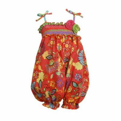 Orange Smocked Bubble Party Pant 3-6 months