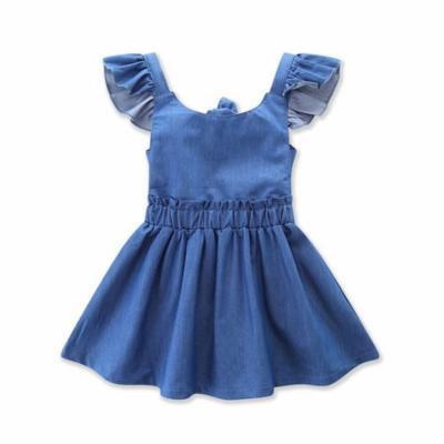 StylesILove Baby Toddler Girl Contrasting Sleeve Backless Denim Sun Dress (110/2-3 Years)