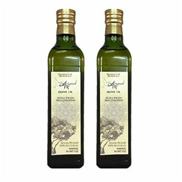 Auzoud Extra Virgin Olive Oil, Supports North African Women Farmers, 100% Natural, Hand-Picked, Cold-Pressed, 500 ml (16.907 oz) (Pack of 2)