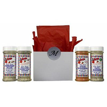 Bolner's Fiesta Extra Fancy Texas Barbeque Seasoning 4 Flavor Gift Box Set, (1) each: Texas Style Steak, Uncle Chris' Gourmet Steak, Hamburger Deluxe, and (1) Fajita, 5.5-7 Ounces