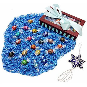 Deluxe Hannukah or Christmas Ribboned Holiday Gift Box - Lindt Lindor Gourmet Chocolate Truffles & Tree Ornament