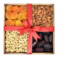 Gift Universe Christmas Wooden Gift Tray - 4 sectional with Apricots, Raw Almonds, Raw Cashews and Medjool Dates, 2 Lbs (908)
