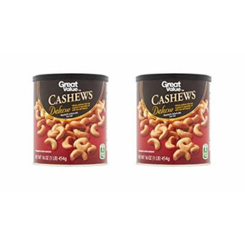 Great Value Roasted & Salted with Sea Salt Deluxe Cashews, (2-Pieces of 16 oz)