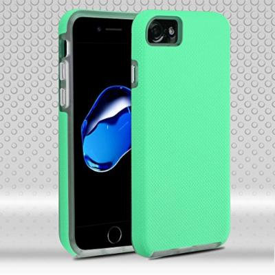 Asmyna Fusion Protector Cover for iPhone 7 - Teal Green Dots Textured/Transparent Clear