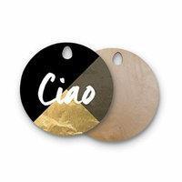 Kess InHouse KIH225AWB02 Original Marble & Metal Copper Round Wooden Cutting Board, White