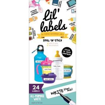 Lil' Labels Waterproof Seal-n-Stick Baby Bottle Labels for Daycare, All-Purpose White