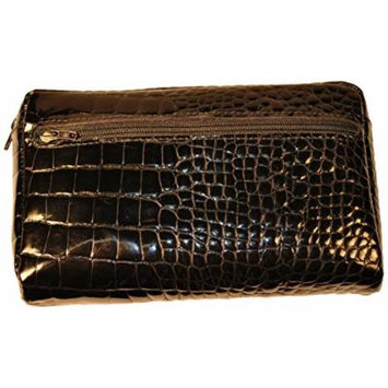 Budd Leather Croco Bidente Cosmetic Case, Black