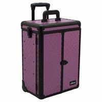 Sunrise Del Cristo Heavy Duty Rolling Makeup Case Professional Nail Travel Organizer Box, Purple Diamond, 16 Pound