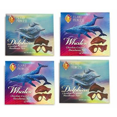 Dolphins and Whales Chocolate Covered Macadamia Nuts 4 Pack