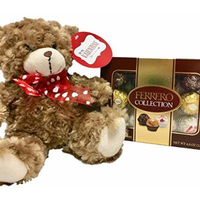 Ferrero Chocolate Candy Collection (Rondnoir, Rocher, Raffaello) and 10 Inch Plush Brown Bear - Valentine Gift (Brown)