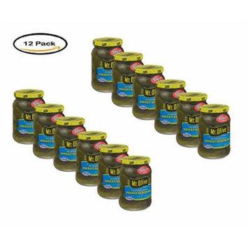 PACK OF 12 - Mt. Olive Sweet Gherkins No Sugar Added Pickles 16 fl. oz. Jar