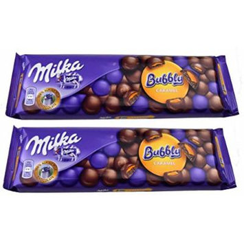 Milka Bubbly Milk Chocolate with Caramel Filling Pack of 2 (8.82 Ounces each Bar)