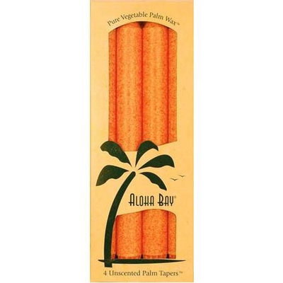 Palm Tapers 9 Inch, Unscented, Burnt Orange, 4 Candles, Aloha Bay