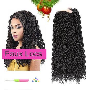 (6Packs) Faux Locs Crochet Hair Deep Wave Braiding Hair Crochet Goddess Locs Synthetic Braids Hair Extensions 24Roots/Pack (18inch, 1B#) : Beauty