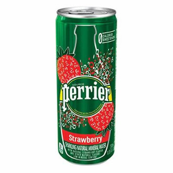 Perrier Strawberry Sparkling Natural Mineral Water 330 ml Slim Cans - Pack of 24