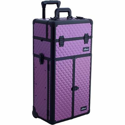 Sunrise Strozzi 2-In-1 Rolling Makeup Case Professional Nail Travel Organizer Box, Purple Diamond, 20 Pound
