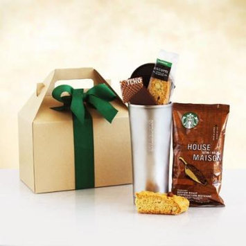 Fathers Day Gift Box , Starbucks Coffee, Biscotti, Chocolate Bar and Insulated To Go Cup