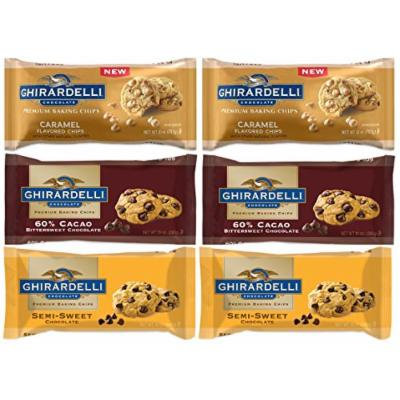 Ghirardelli Chocolate Chips Variety Pack - Caramel & Semi Sweet & 60% Cacao Bittersweet - Pack of 6