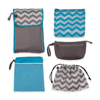 5-in-1 Organizer Pouches in Turquoise/Grey