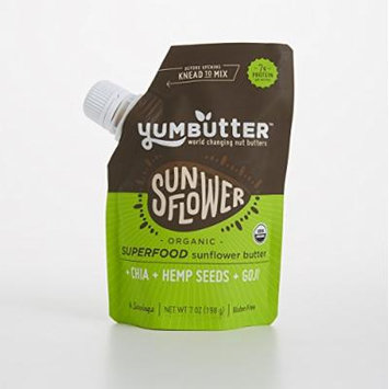 Yumbutter Nut and Seed Butter, Multi-Serving, Go-Anywhere pouch, 6 Count - Organic Superfood Sunflower Butter