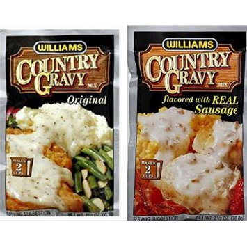 Williams Country Gravy Variety Bundle includes 3-Pack Country Gravy mix flavored with Real Sausage, 2.5 oz + 3-Pack Country Gravy Original Mix, 2.5 oz
