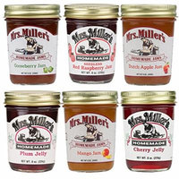 Mrs. Miller's Jam & Jelly Ultra Variety Pack: Seedless Red Raspberry Jam, Plum Jelly, Dutch Apple Jam, Cherry Jelly, Mango Jam, Gooseberry Jam (1 Jar of Each)