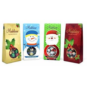 Madelaine Chocolate CHRISTMAS ORNAMENT BALL, SANTA FACE , SNOWMAN FACE and CHRISTMAS ORNAMENT BALL, PREMIUM DARK and MILK CHOCOLATE gift Bags, Each 4 Oz - Pack of 4