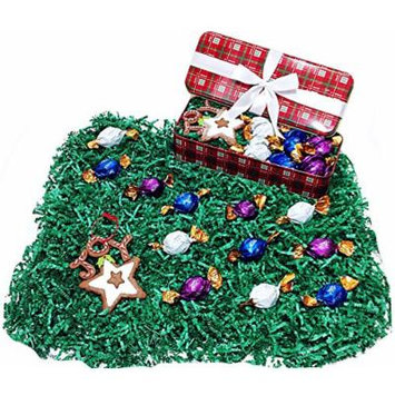 Red & Green Plaid Christmas Holiday Tin Gift Box - Godiva Gourmet Milk, Dark & White Chocolate Truffles & Christmas Tree Ornament
