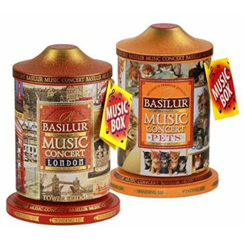 Basilur , Romantic & London Music Tin , Music Concert Collection , Pure Ceylon Black Tea , Metal Caddy , 20 Pyramid Tea Bags Each , Gift of Tea , Pack of 2