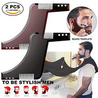 2 PCS Beard Shaping Combs & Beard Bid Clipping Catcher Shaving Grooming Tool Sets-Line Up & Edging to Style Your Beard & Facial Hair-Gift for Men, Father, Boyfriend or Yourself
